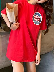 billige -Dame - Geometrisk / Bogstaver Net / Patchwork Gade / Elegant T-shirt Sort US6