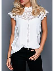 Χαμηλού Κόστους -Γυναικεία T-shirt Μονόχρωμο Δαντέλα Λευκό US6