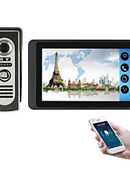 olcso -618m11 7 hüvelykes kapacitív érintőképernyős videokamera vezetékes videó ajtócsengő wifi / 3g / 4g távoli hívás feloldása tároló vizuális intercom egyről egyet