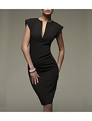 Недорогие -Жен. Офис Секси Хлопок Тонкие Облегающий силуэт Платье - Однотонный Глубокий V-образный вырез До колена