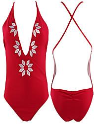 abordables -Mujer Básico Azul Piscina Rojo Morado Halter Slips Una Pieza Bañadores - Geométrico Espalda al Aire Estampado S M L Azul Piscina