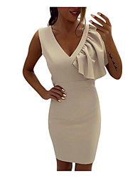 abordables -Mujer Corte Bodycon Vestido Un Color Sobre la rodilla