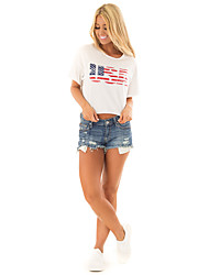 billige -Dame - Bogstaver Patchwork / Trykt mønster T-shirt Hvid US2