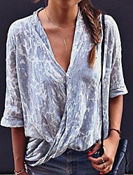 baratos -Mulheres Camisa Social Tie Dye Azul US4