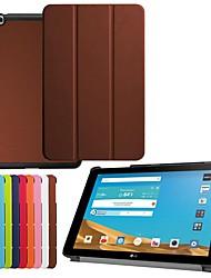 Недорогие -Кейс для Назначение LG LG G Pad II 10.1 V940N Защита от удара / со стендом / Ультратонкий Чехол Однотонный Твердый Кожа PU