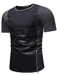 ราคาถูก -สำหรับผู้ชาย เสื้อเชิร์ต Street Chic ลายบล็อคสี สีดำ L