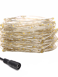 Недорогие -Loende 10 м 100 светодиодов струны свет светодиодные рождественские огни на открытом воздухе водонепроницаемый dc12v рождественская фея полосы огни серебряный провод свет