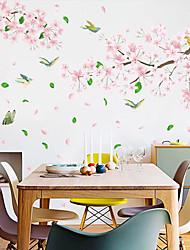 Недорогие -стикеры на стенах с розовыми цветами и птицами - 3d наклейки на стены цветочные / ботанические / ландшафтный кабинет / офис / столовая / кухня