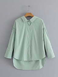 cheap -Women's Street Going out Basic Shirt - Striped Bow Green US8