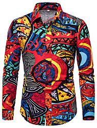 Недорогие -Муж. С принтом Размер ЕС / США - Рубашка Классический Контрастных цветов / Графика Красный / Длинный рукав