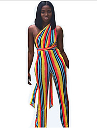 preiswerte -Damen Boho Regenbogen Overall, Gestreift Patchwork M L XL