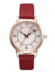preiswerte -Damen Quartz Uhr Freizeit Modisch Schwarz Weiß Rot PU - Leder Chinesisch Quartz Weiß Schwarz Rote Kreativ Armbanduhren für den Alltag Cool 1 Stück Analog