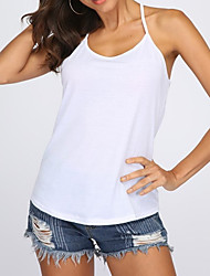 Χαμηλού Κόστους -Γυναικεία Αμάνικη Μπλούζα Κομψό Μονόχρωμο Patchwork Λευκό US6