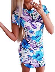 Χαμηλού Κόστους -Γυναικεία Βασικό Κομψό στυλ street Εφαρμοστό Θήκη Φόρεμα - Φλοράλ, Στάμπα Πάνω από το Γόνατο
