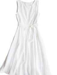 abordables -Mujer Elegante Vaina Vestido - Retazos, Un Color Midi
