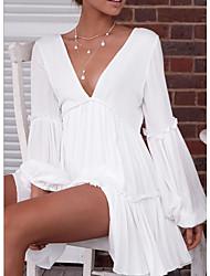 Недорогие -Жен. На выход Пляж А-силуэт Платье Пэчворк Глубокий V-образный вырез Мини / Сексуальные платья