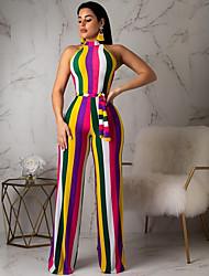 preiswerte -Damen Regenbogen Overall, Gestreift Druck M L XL