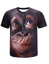 cheap -Men's Daily Wear Basic T-shirt - 3D Print Brown US36