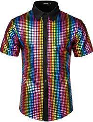 Недорогие -Муж. Размер ЕС / США - Рубашка Хлопок Камни / Панк & Готика Однотонный / Геометрический принт Цвет радуги / С короткими рукавами