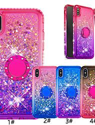 Недорогие -чехол для яблока iphone xr / iphone xs макс блестящий блеск / кольцо держатель задняя крышка цвет градиента мягкое тпу для ИК iphone 6/6 plus / 6s / 6s plus / 7/7 plus / 8/8 plus / x / xs