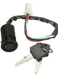 Недорогие -универсальный выключатель зажигания мотоцикла мотоцикл 4 провода с 2 ключами