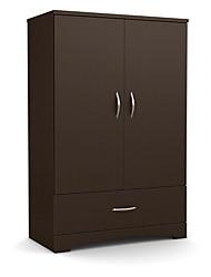 Недорогие -современный 2-дверный шкаф-купе с ящиком в шоколадно-коричневом цвете