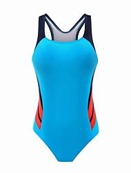 ราคาถูก -สำหรับผู้หญิง สีดำ สีน้ำเงินกรมท่า สีฟ้า ชิ้นหนึ่ง ชุดว่ายน้ำ - ลายบล็อคสี XL XXL XXXL สีดำ