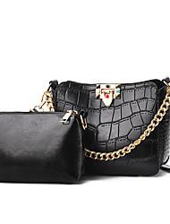 abordables -Mujer / Chica Bolsos PU Conjuntos de Bolsa 2 piezas de monedero conjunto Cremallera / Cadena Color sólido Rosa / Wine / Caqui