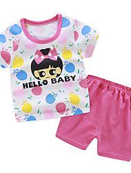 Недорогие -малыш Девочки Уличный стиль С принтом С принтом С короткими рукавами Обычный Набор одежды Розовый