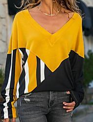 Χαμηλού Κόστους -Γυναικεία T-shirt Συνδυασμός Χρωμάτων Patchwork Ρουμπίνι US10