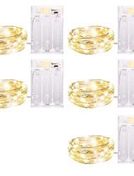 Недорогие -Loende 5 упак. фея 5м 50 светодиодов светодиодные фонари светодиодные струнные светильники с функцией времени водонепроницаемый светлячки на серебряной проволоке для домашней вечеринки свадебные