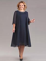 Недорогие -Жен. Изысканный Элегантный стиль Шифон Платье - Однотонный, Пайетки Средней длины