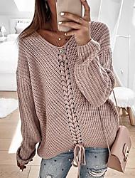 Недорогие -Жен. На каждый день Трикотаж Однотонный Длинный рукав Пуловер, V-образный вырез Весна / Осень Розовый / Красный / Темно синий S / M / L