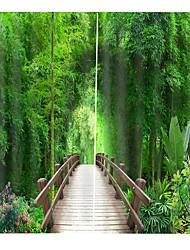 Недорогие -3d печать бамбука лесной мост горячие продажи украшения дома ткань занавес утолщение чистый полиэстер многофункциональный занавеска для ванной / занавес