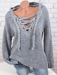 Недорогие -Жен. На каждый день Шнуровка Однотонный Длинный рукав Пуловер, V-образный вырез Весна / Осень / Зима Черный / Белый / Розовый S / M / L