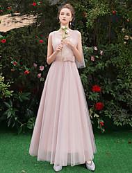 저렴한 -A-라인 V 넥 긴 길이 튤 신부 들러리 드레스 와 허리끈 / 리본 으로 LAN TING Express
