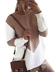 Недорогие -Жен. Геометрический принт Длинный рукав Пуловер, Круглый вырез Черный / Серый / Хаки M / L / XL