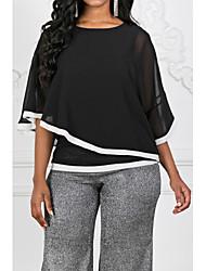 Недорогие -Жен. Пэчворк Блуза Классический Контрастных цветов Черный