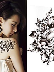 Недорогие -3 шт. Черный большой цветок боди-арт водонепроницаемый временные сексуальные татуировки бедра роза для женщины флэш татуировки наклейки
