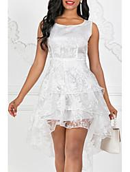 Χαμηλού Κόστους -Γυναικείο Εξόδου Θήκη Φόρεμα,Μονόχρωμο Αμάνικο Στρογγυλή Λαιμόκοψη Ασύμμετρο Πολυεστέρας Καλοκαίρι Κανονική Μέση ΜικροελαστικόΜεσαίου