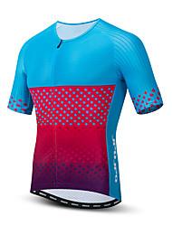 hesapli -JPOJPO Erkek Kısa Kollu Bisiklet Forması Kırmızı+Mavi Bisiklet Tracksuit Forma Üstler Nefes Alabilir Spor Dalları Polyester Elastane Terylene Dağ Bisikletçiliği Yol Bisikletçiliği Giyim / Mikro-Esnek