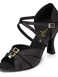 Недорогие -Жен. Танцевальная обувь Сатин Обувь для латины Пуговицы На каблуках Кубинский каблук Персонализируемая Черный