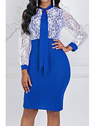 Недорогие -Жен. Большие размеры Классический Секси Оболочка Платье - Однотонный, Кружева Шифон Назад V-образный вырез До колена