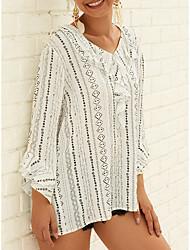 Недорогие -Жен. С принтом Блуза V-образный вырез Свободный силуэт Классический / Элегантный стиль Полоски Черное и белое Белый