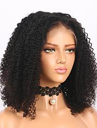 Недорогие -человеческие волосы Remy Полностью ленточные Лента спереди Парик Средняя часть стиль Бразильские волосы Кудрявый Черный Парик 150% 180% Плотность волос / Без запаха