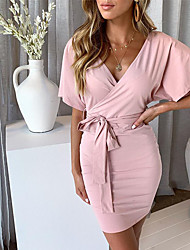 cheap -Women's Sophisticated Elegant Bodycon Sheath Dress - Solid Colored Black Blushing Pink Gray M L XL