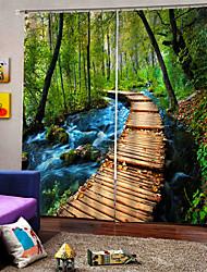 Недорогие -Китайский стиль 3d цифровая печать бамбука мост занавес утолщение 100% полиэстер занавес многофункциональный настраиваемый занавес