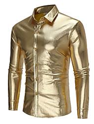 Недорогие -Муж. Размер ЕС / США - Рубашка Классический Однотонный Золотой / Длинный рукав