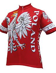 Недорогие -21Grams Eagle Польша Флаги Муж. С короткими рукавами Велокофты - Красный Велоспорт Джерси Верхняя часть Дышащий Влагоотводящие Быстровысыхающий Виды спорта Терилен / Слабоэластичная