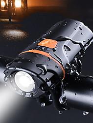 Недорогие -Светодиодная лампа Велосипедные фары Передняя фара для велосипеда Фонарь LED Горные велосипеды Велоспорт Водонепроницаемый Мини Несколько режимов USB 1200 lm USB Черный